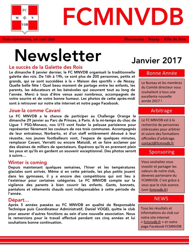 Newsletter Janv 2017